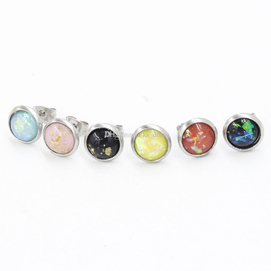 8mm Cabochon Opal Earrings Mini Amber Stainless steel Stud Earrings Jewelry Women Party Gift Dress Candy Colors
