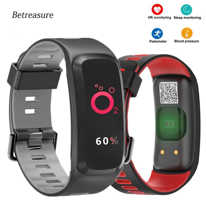 cce56f46f6ba Betreasure F4P pulsera inteligente presión arterial / monitor de ritmo  cardíaco Fitness pulsera deporte IP68 natación GPS SmartBand