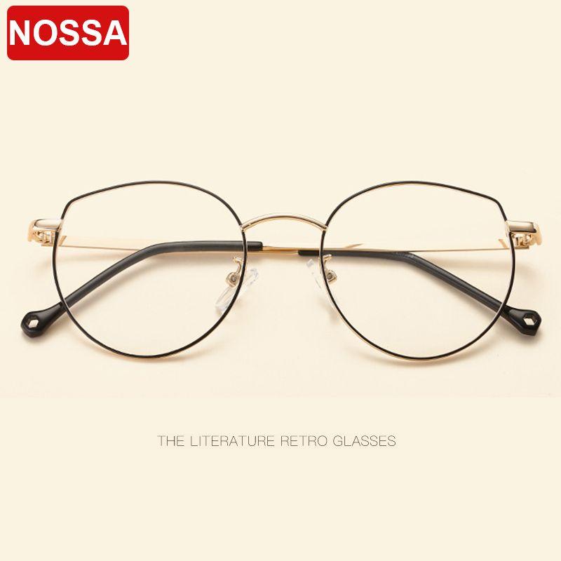 19a9859de7d4 2019 Retro Metal Glasses Frame Fashion Cat Ear Personality Flat Mirror  Literary Small Fresh Men And Women Decorative Glasses Frame.