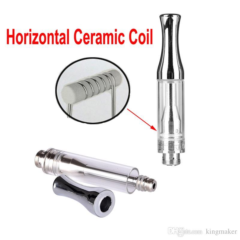 Bobina de cerámica pura horizontal Cartucho de acero inoxidable AC1003 0.5ml Bolígrafo de cerámica del cigarrillo grueso del atomizador de cristal del atomizador de cristal de la bobina