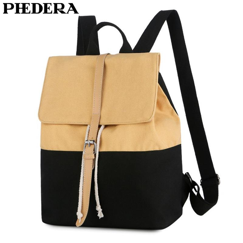 PHEDERA New Fashion Young Girl Backpack Casual Canvas Outdoor Travel ... 52391c987b75e