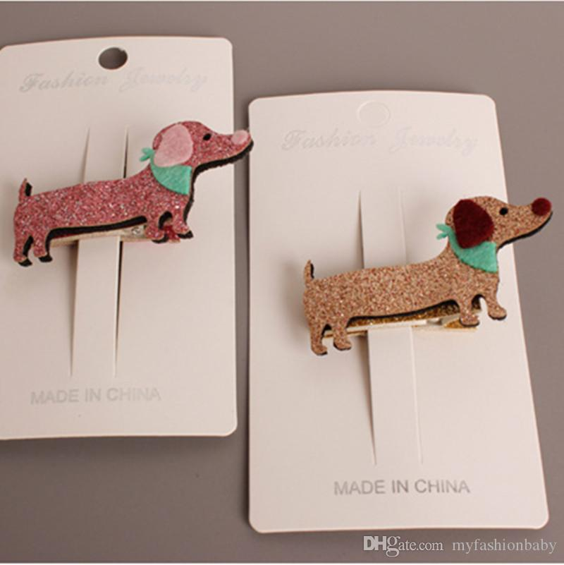 New Lucky Dog Hairpins Glitter Felt Animals Khaki Pink Lovely Dog Girls Hair Bows New Kids Hair Clip Prince Hair Grip