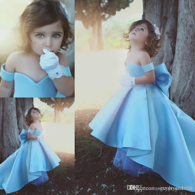 Baby Blue Girls Pageant Gowns Off The Shoulder Satin High Low Flower Girl Dresses For Wedding Big Bow Children Birthday Party Dress