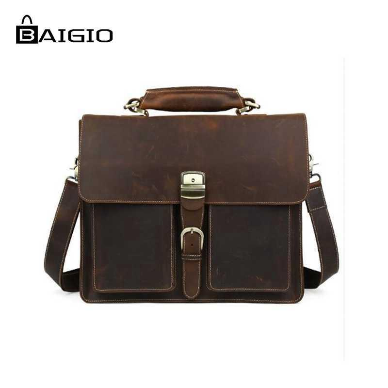 2fe79262aa33f Baigio Men Briefcase Bag Crazy Horse Vintage Genuine Leather Bag ...