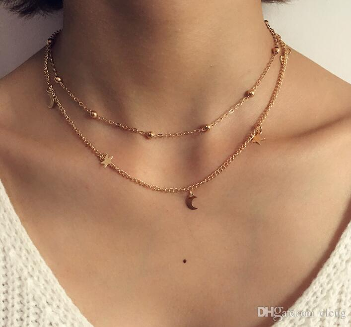 0dba552e80e4b5 Wholesale 2018 New Fashion Jewelry 2 Layer Star Moon Choker Necklace Nice  Gift For Women Girl 561 Letter Pendant Necklace Number Pendant Necklace  From Eleng ...