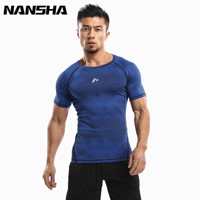 NANSHA Mens Fitness 3D Prints Short Sleeves T Shirt Men Bodybuilding Skin Tight Thermal Compression Shirts Crossfit Workout Top