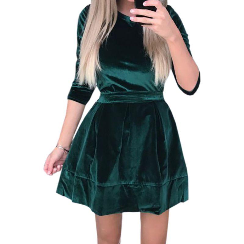 264ebd28bc4 Acheter Velours A Ligne Vintage Robe 2019 Femmes Ceintures Mini Robes Femme  Velour Automne Hiver Plus La Taille Solide Robe Jurken GV017 De  29.16 Du  Your01 ...