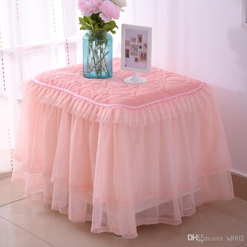 Tutu Dust Covers European Style Pinch Cotton Thickening Lace Bedside Cabinet Cover Exquisite Wedding Tablecloth Home Decor 24kh Ff