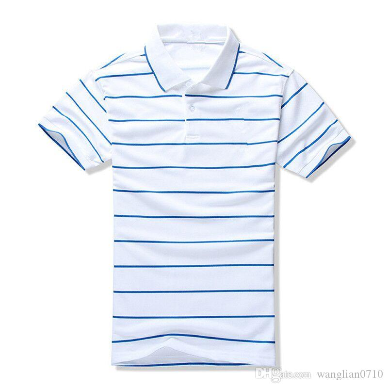 Лето новый бренд мужская полоса рубашка поло для мужчин поло Мужчины топ вышивка 100% хлопок с коротким рукавом рубашки трикотажные изделия