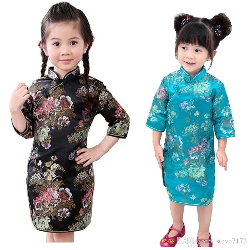 Black Baby Girl Dresses Peony Children Clothes Flower Girl's Cheongsam Kids Party Festival Dress Chi-Pao Costumes Tribute Silk Pettiskirts