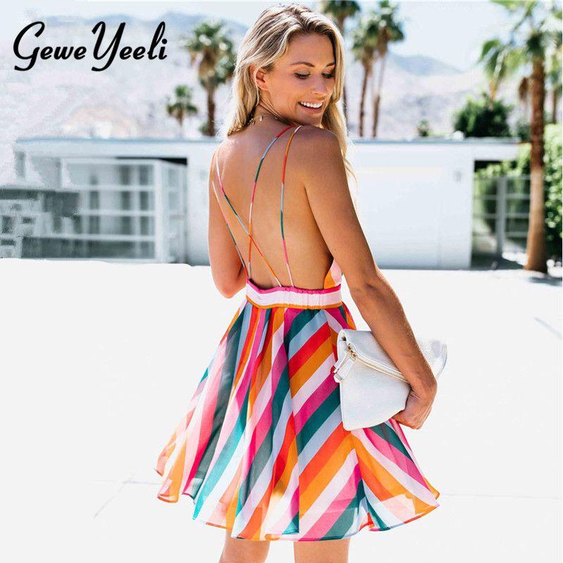 2018 Summer Striped Dress Female Beach Boho Backless Spaghetti Strap ... 059215efde90