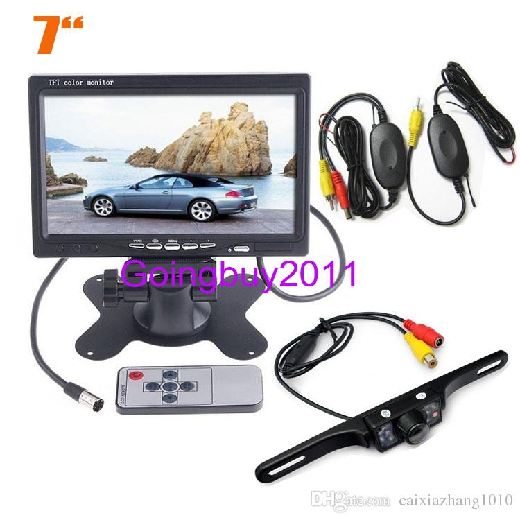 "Wireless License plate 7 LED IR Reversing Camera + 7"" LCD Monitor Car Rear View Kit Free Shipping"