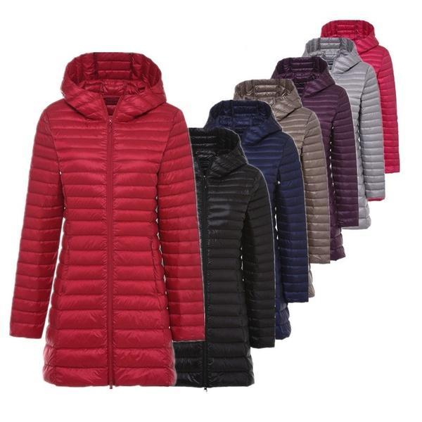 Frauen Daunenjacken Ultra Light Daunenjacke Frauen lange Jacke Portable  leichte dünne warme Feder Mantel weiblich 674258f389
