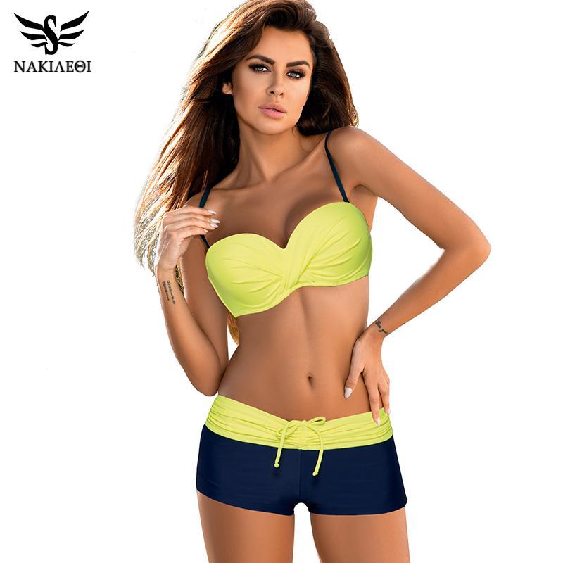 5bf098fd75e 2019 2018 Bikini Push Up Swimwear Women Swimsuit Plus Size Swimwear Solid  Patchwork Shorts Two Pieces Swimming Bathing Suits From Z6241163