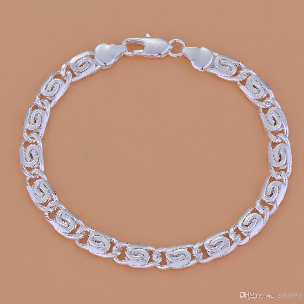 Helt ny högkvalitativ 5mm 8inches 925 Silver Charm Chain Armband Mäns Smycken Gratis frakt 10st
