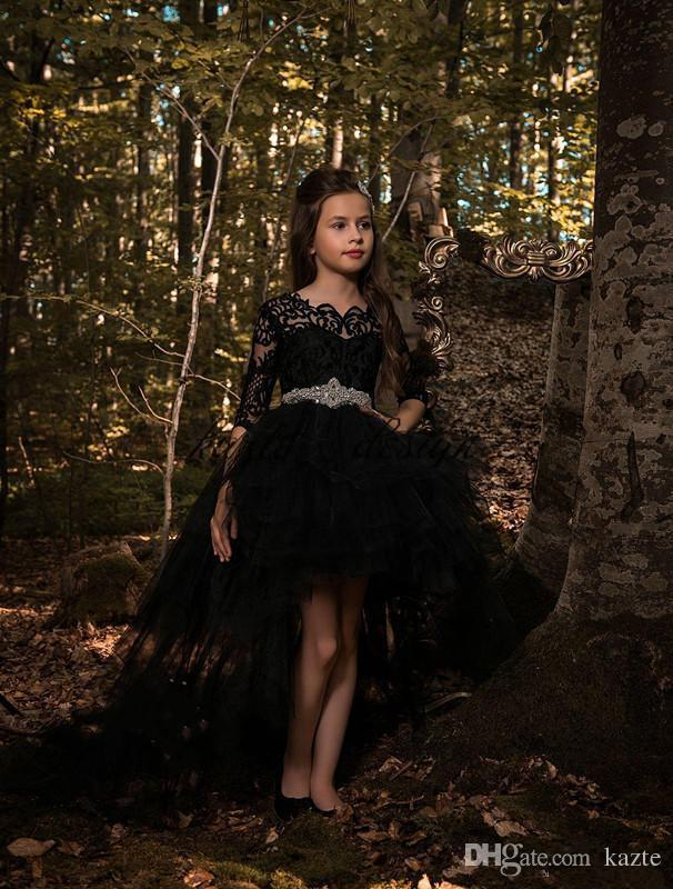 2018 Cheap Hi-low Black Princess Dresses Tulle Girls Pageant Half Long Sleeves Lace Applique Top with Crystals Belt Formal Kids Wear