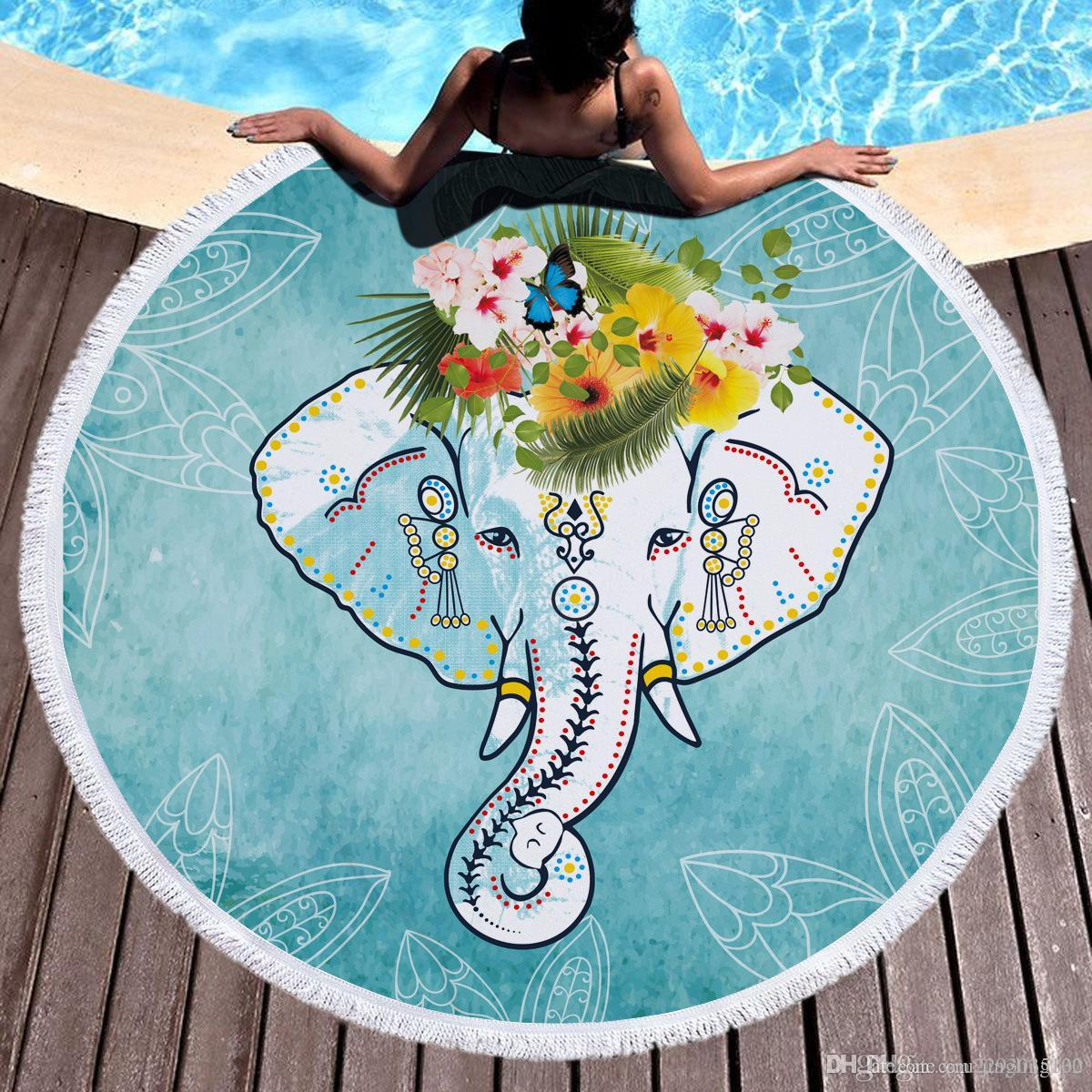 India Elephant Round With Tassels Beach Towel For Women Travel ...