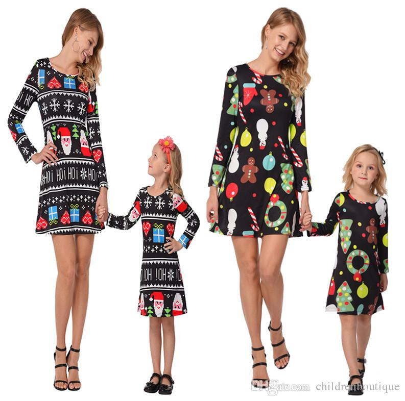 christmas dresses mommy and me family matching clothes mother and daughter matching dresses christmas trees santa printed dress father and son matching
