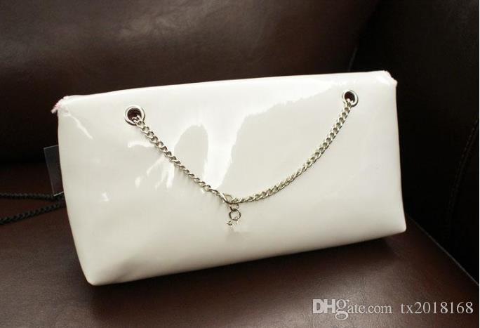 Классический узор черный / белый глянцевый мешок с цепочкой мода женская сумка косметический макияж чехол для хранения VIP подарочная сумка смарт C