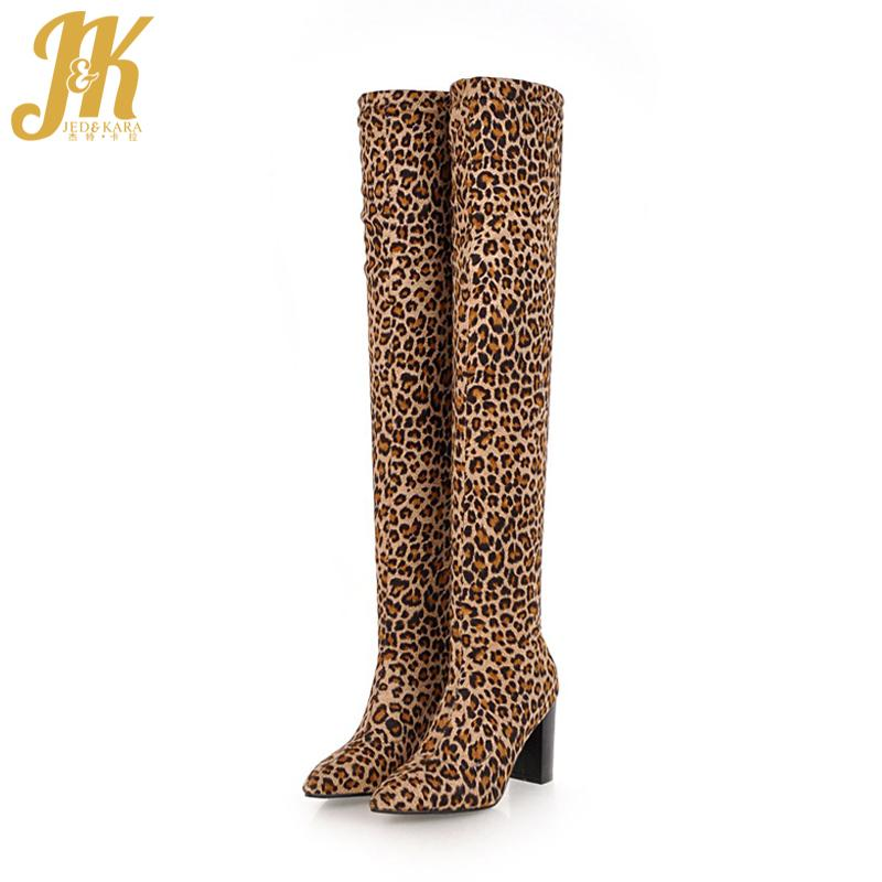 f743a458172 JK Leopard Print Stretch High Heels Women Boots Pointed Toe Footwear Over  The Knee Female Fur Boot Sexy Shoes Women 2018 Winter Womens Boots Boots Uk  From ...