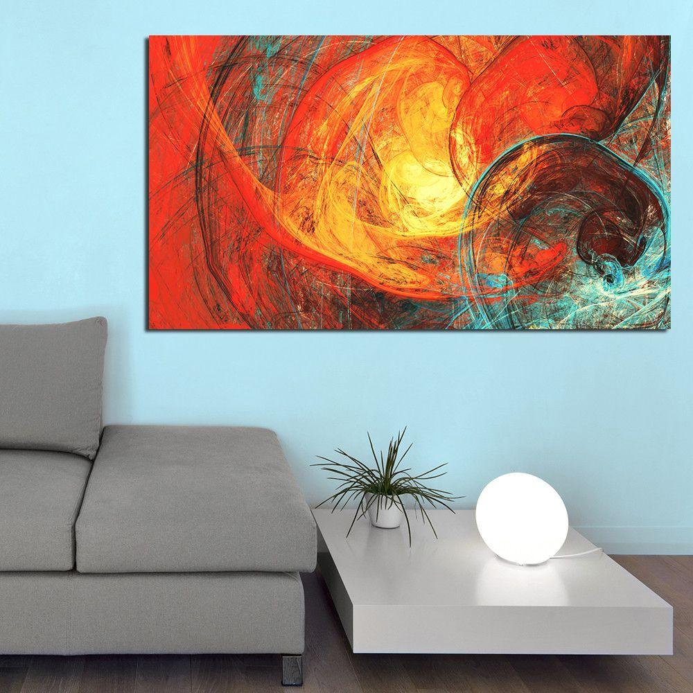 Acheter Tableaux Muraux Pour Le Salon Abstrait Rouge Et Bleu Sur La  Peinture Sur Toile No Frame Affiches Et Posters De $12.06 Du Bad784533 |  DHgate.Com