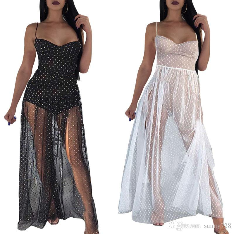 c50ddfa816 Compre 2018 Moda De Verano Punto Transparente Vestidos De Fiesta De Tul  Blanco Negro Sexy Cuello De Espagueti Sin Mangas Una Línea De Vestido Club  Dividido ...