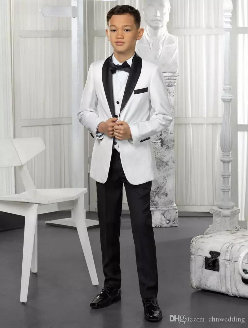 e03fde806 Custom White Boys Suits Kids Suits 2018 Wedding Prom Set Jacket+ ...