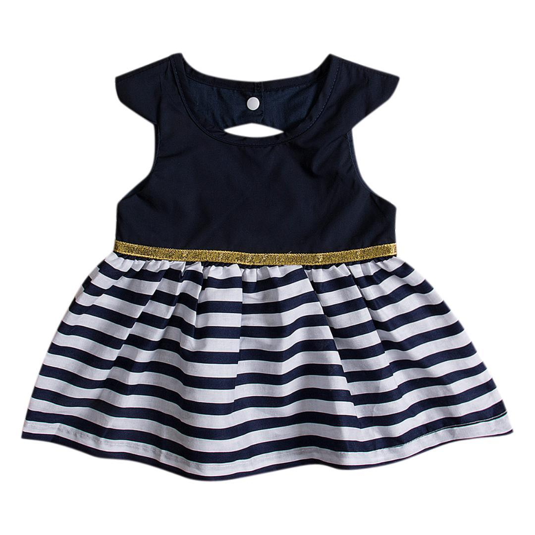 Toddler Kids Baby Girls Clothes Stripe Sleeveless Pageant Party Princess Dress