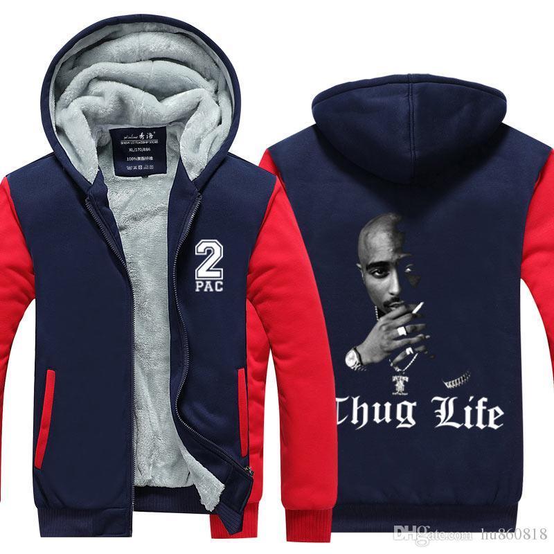 a5dd8eea 2019 Hot New Mens Hoodies Tupac Amaru Shakur Thicken Coat Fleece  Sweatshirts Thug Life Hip Hop Rap Punk Style Cotton Jacket From Hu860818,  $33.51   DHgate.