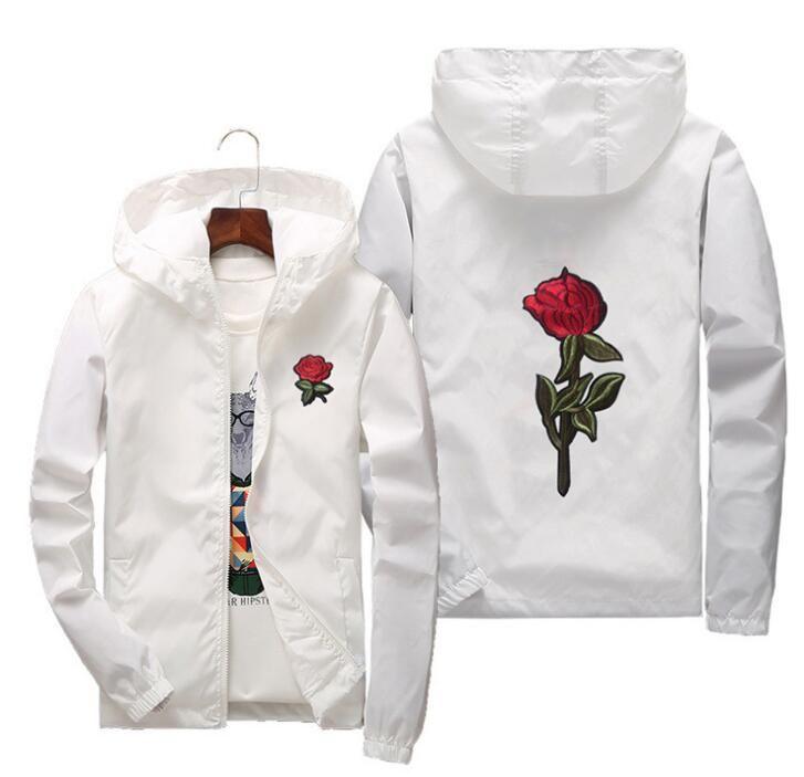 2018 fashion Windbreaker Coat gosha Rubchinskiy Men Women Skateboard Coat Hip Hop windbreaker yeezus Rose Embroidery jacket