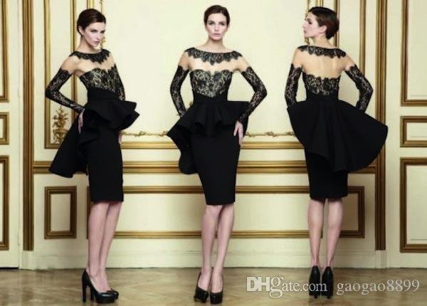 2019 Vestidos negros atractivos Vestidos de cóctel Vestidos de fiesta Funda de manga larga / Cuello redondo Apliques Peplum Vestido formal por la noche Hasta la rodilla
