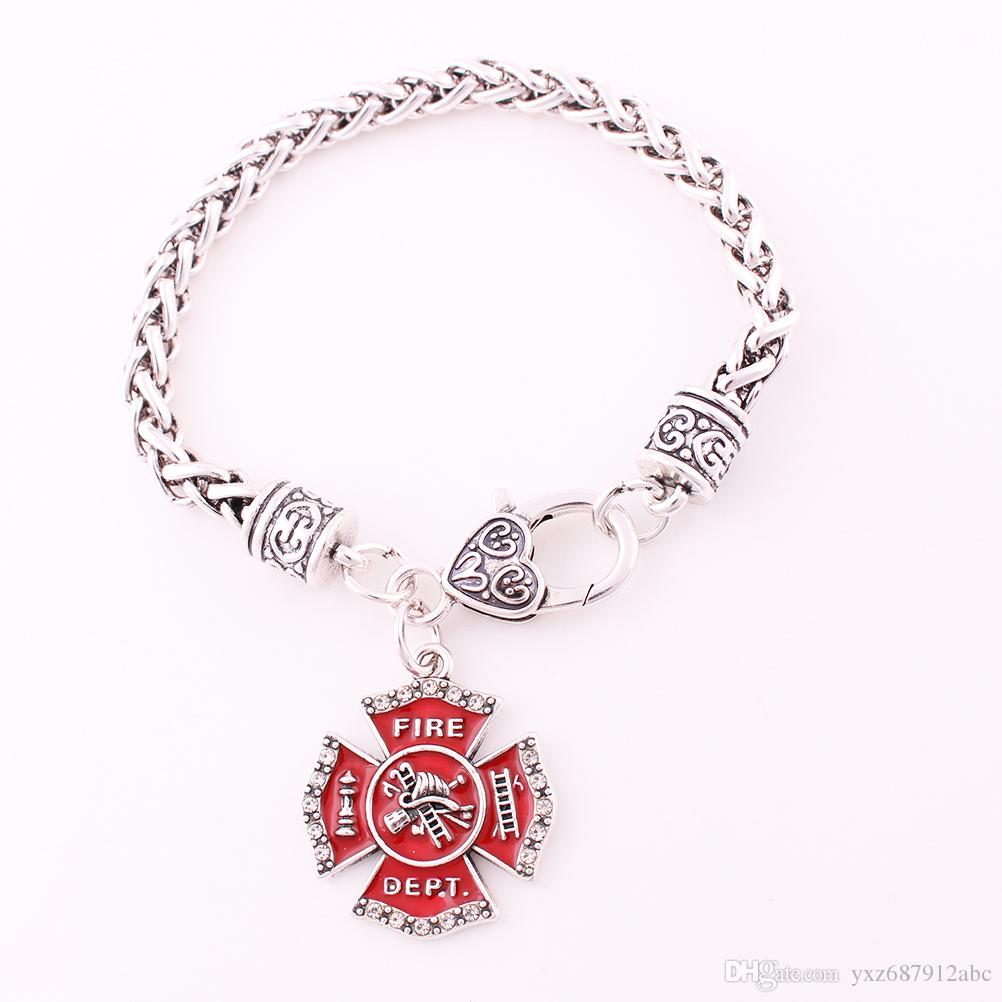 d73680add4982 FIRE DEPT With Clear Crystal Wheat Chain Bracelet Red Enamel Cross  Firefighter Fire Sign Pendant Bracelet