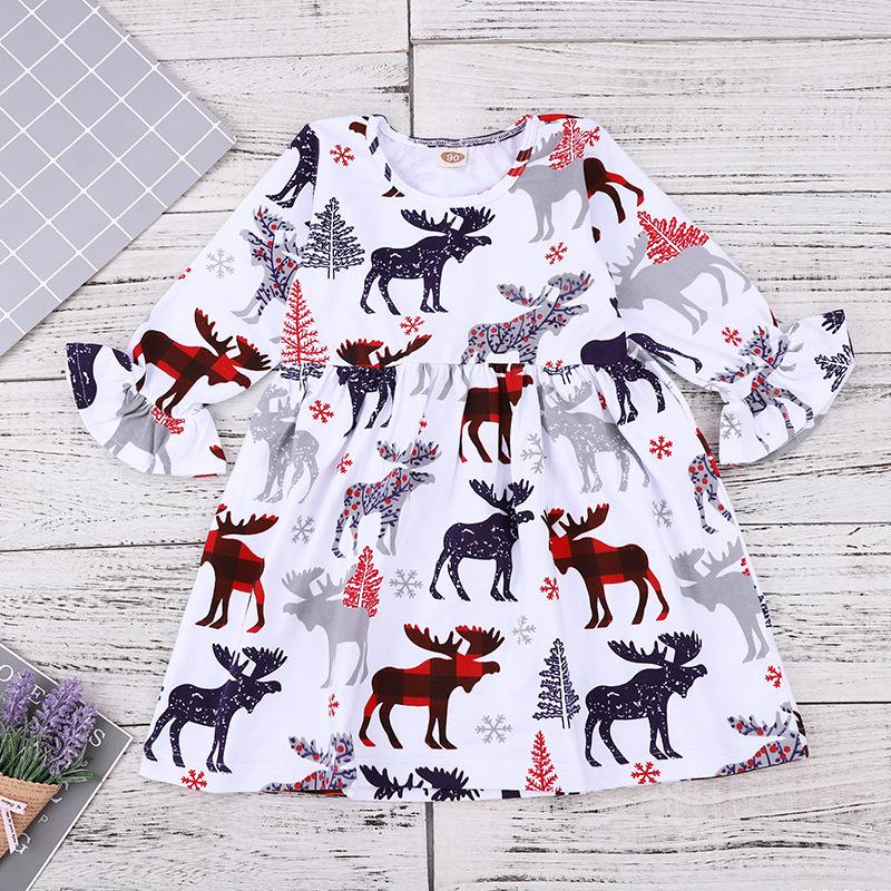 b332988018a28 2019 Christmas Girls Reindeer Print Dresses 2018 Kids Boutique Clothing  Euro America Little Girls Cotton Flare Sleeve Dresses For Christmas From ...