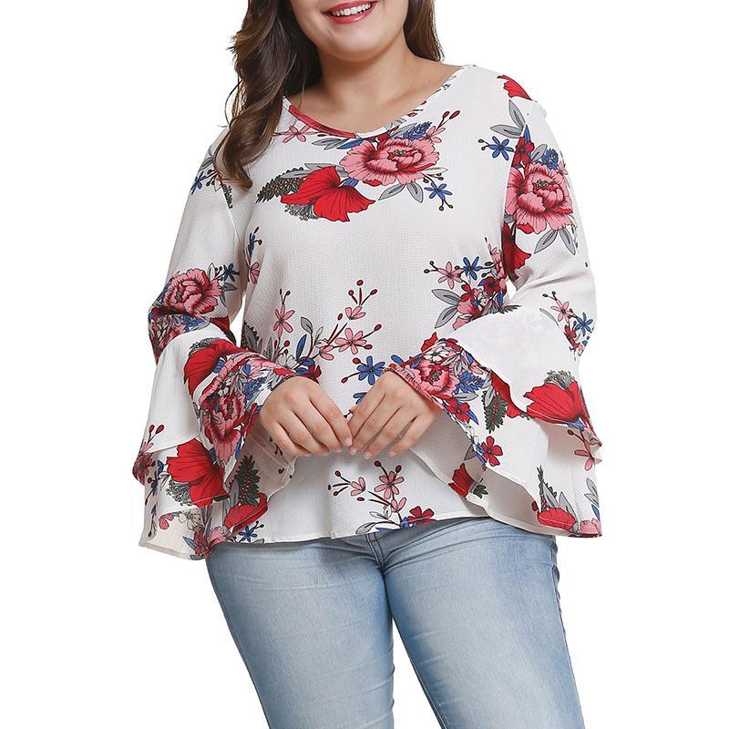 ed296dddb869 Tallas grandes xl-5xl camisas gasa estampado floral Primavera Otoño blusas  mangas acampanadas 2018 hembra tamaño grande Top camisa WS9317Y