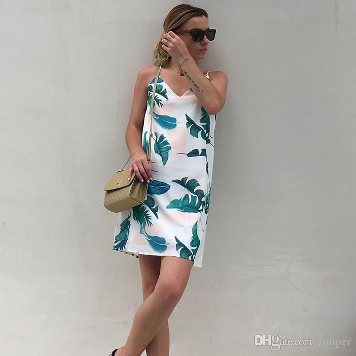White Cami Summer Dress Women Palm Leaf Print Double V Neck Casual Shift Dresses 2018 Fashion Sexy Sleeveless Dress