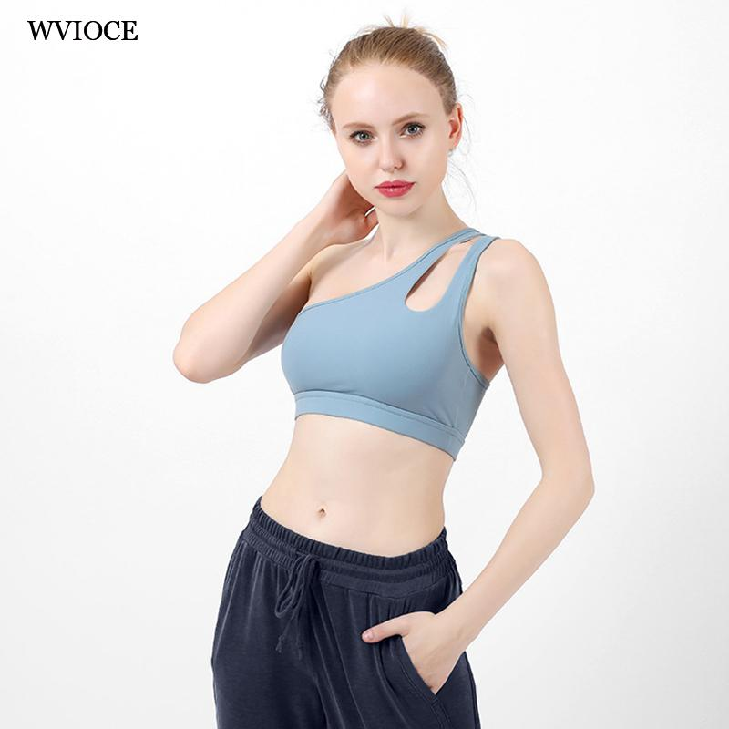 c2378a0219f92 2019 Hollow White One Shoulder Top Sports Bra Padded High Impact Brassiere  Sport Fitness Women Bra Top Gym Push Up Yoga Sexy From Bingquanwat