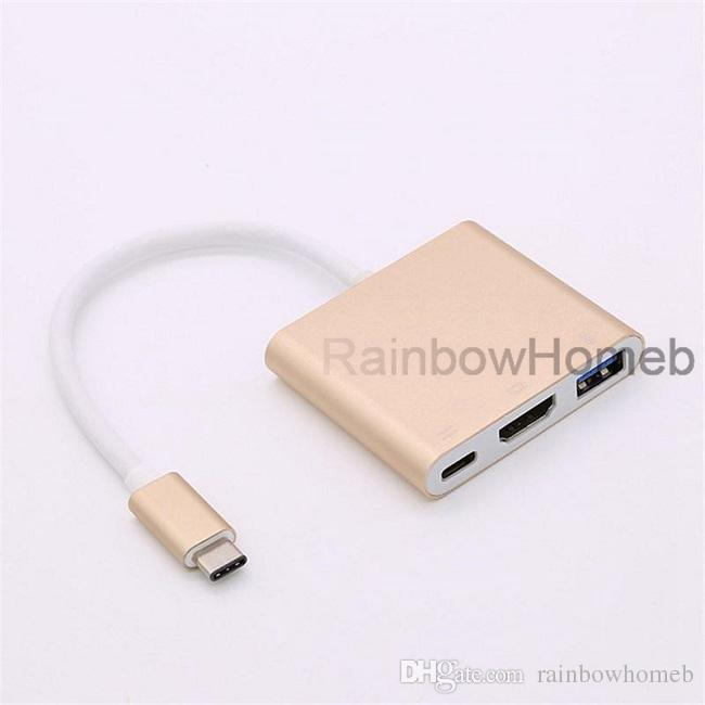 USB Type C to HDMI Adapter Cable AV Converter for iPhone Cell Phone Switch Console Macbook Pro Chromebook Laptop 4K 3 In 1