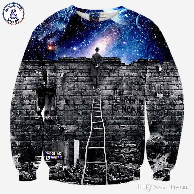 Men's Clothing Mr.1991inc Very Nice Men/women 3d Hooded Sweatshirts With Cap Print A Person Watching Meteor Shower Space Galaxy Hoody Hoodies