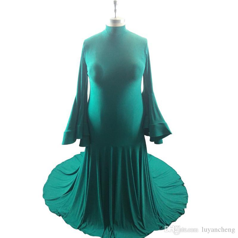 Glamorous Yeşil Mermaid Akşam Balo Elbiseler 2018 Yeni Yüksek Boyun Uzun Kollu Gelinlik Modelleri Sweep Tren Ünlü Kırmızı Halı Törenlerinde Artı Boyutu