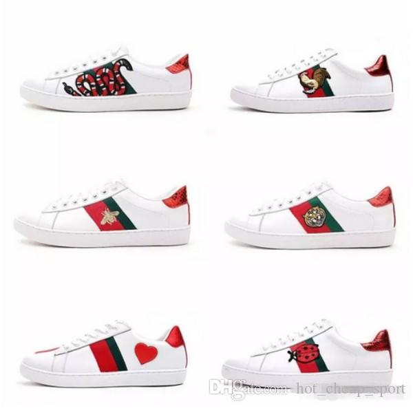 b7562b010a Mens Designer Luxury Shoes Casual Shoes White Women Sneakers Good  Embroidery Bee Cock Tiger Dog Fruit On The Side With OG Box Men Shoes  Online Best Running ...