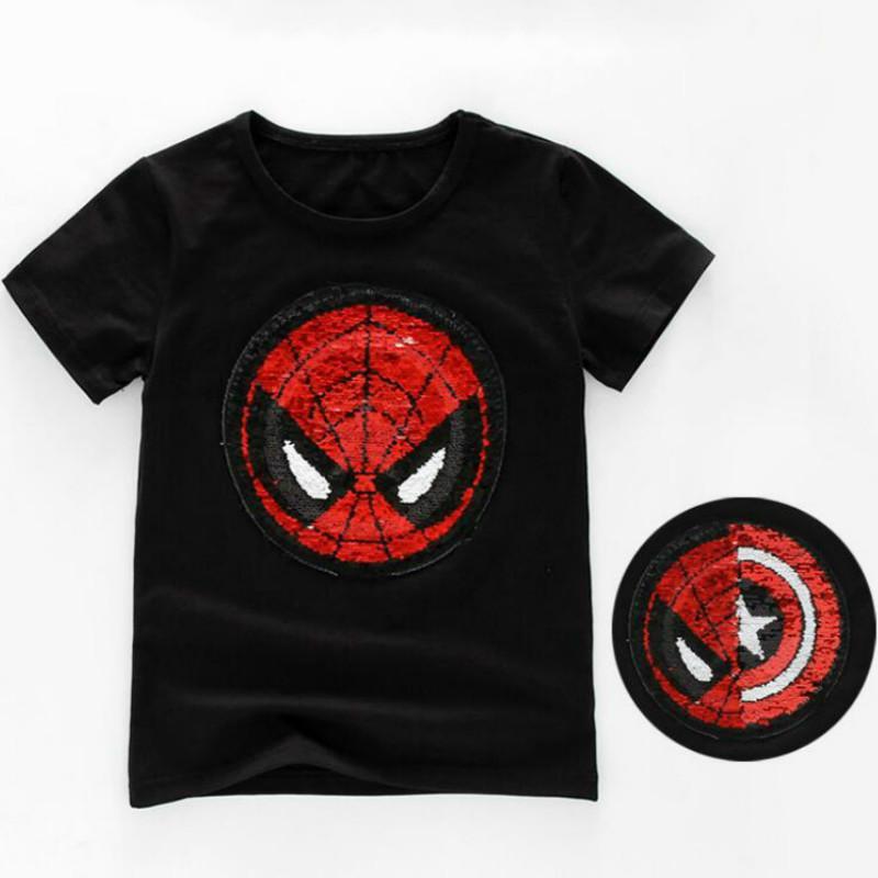Reversible Sequins T-shirt Changable Captain America Spiderman ... dcdda91f69d7