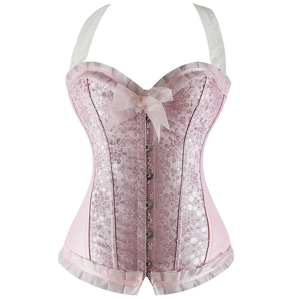e482aed9e4 Women s Pink Floral Bead Satin Halter Body Shaper Overbust Corset ...