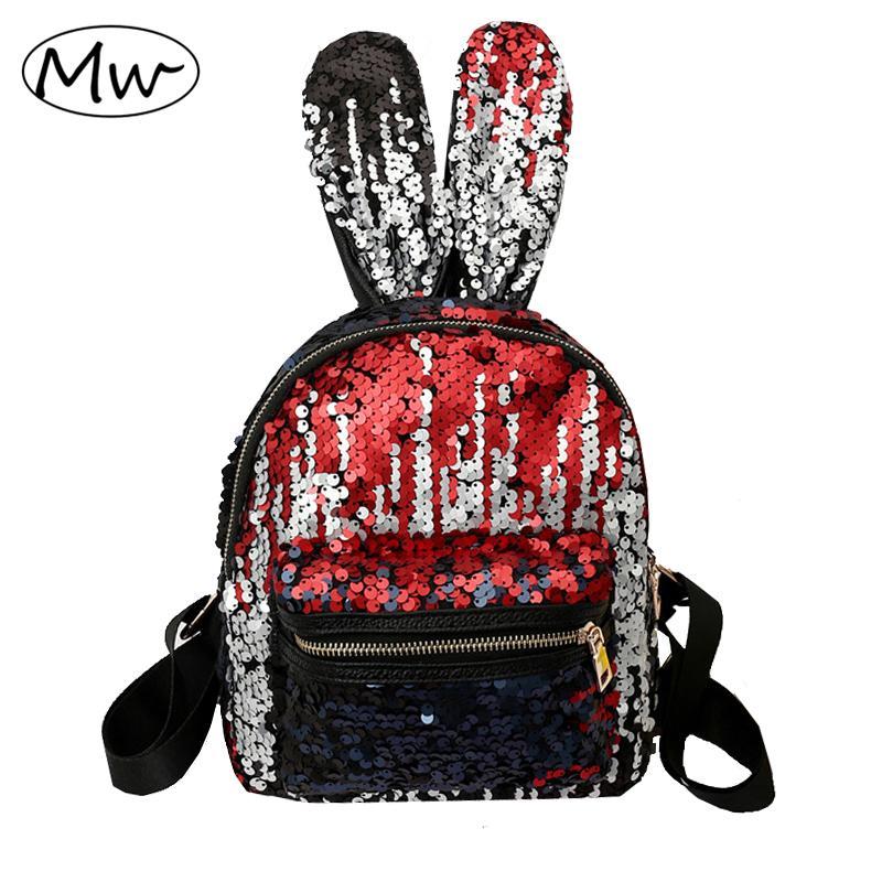 Moon Wood 2018 Cute Bunny Sequins Backpack Children Girls School Bag Book  Bag Bling Princess Travel Women Small Backpack Sac Small Backpack Laptop  Backpacks ... b7cf6d139a062