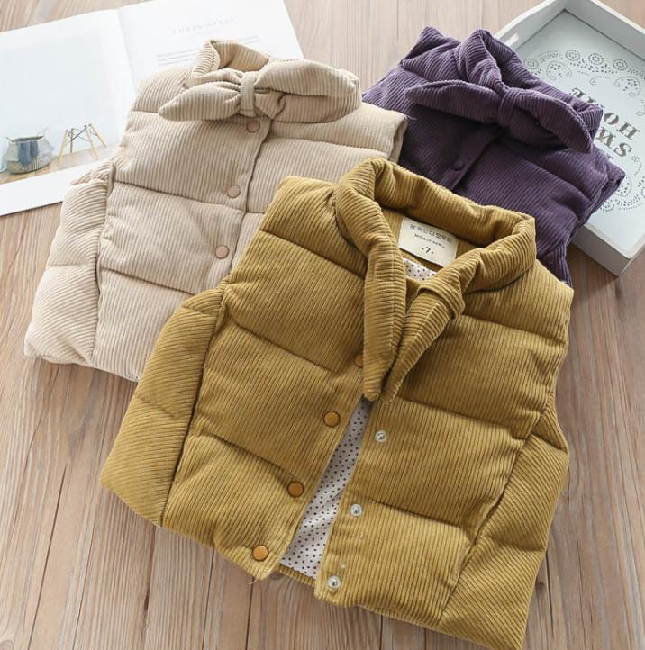 dcb576f97 Children Corduroy Waistcoat Girls Bows Tie Vest Tops Kids Autumn ...