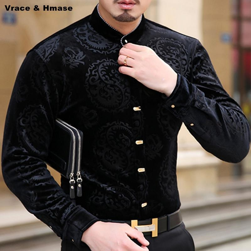 Chinese style personality dragon pattern printing fashion long sleeve shirt Autumn 2017 New quality gold velvet men shirt M-XXXL