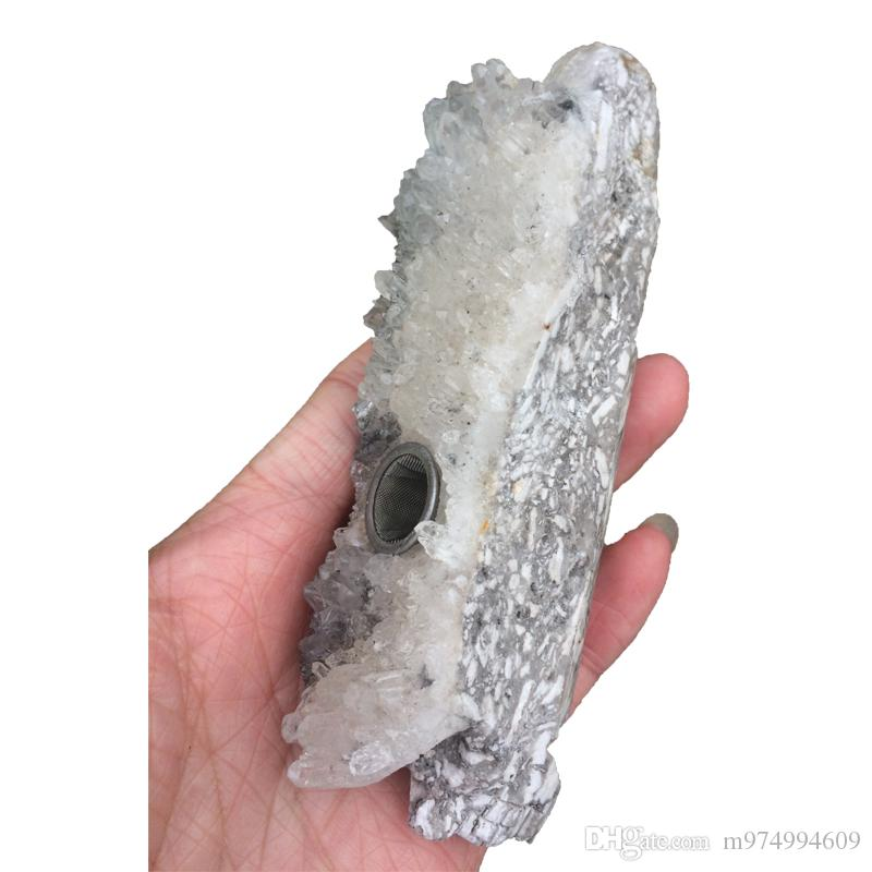 DingSheng Natural Clear Quartz Skull Drusy Cluster Smoking Pipe Stone Healing point Wand for cigarette tobacco