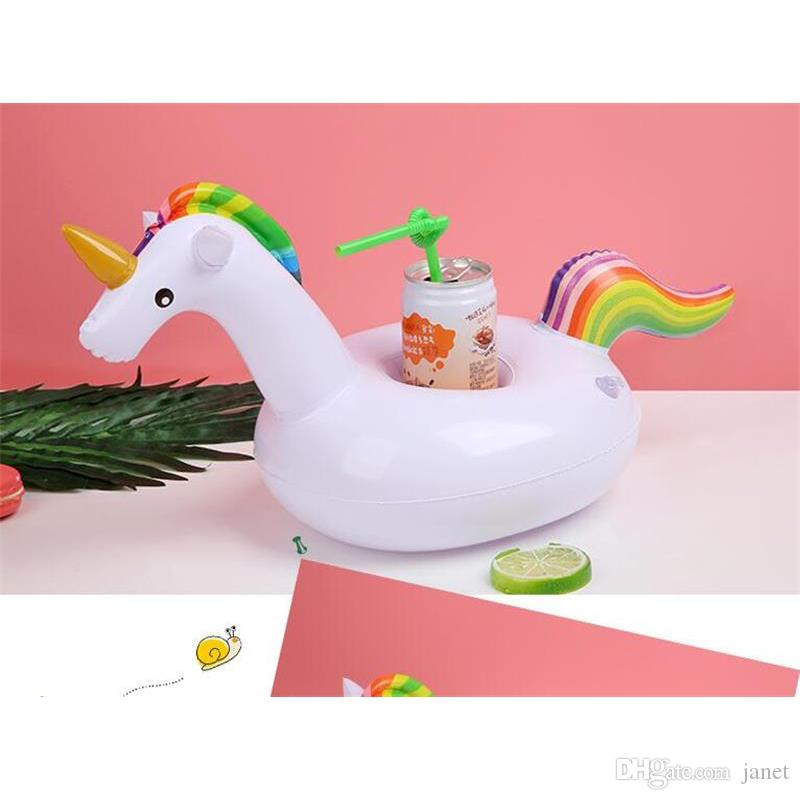 2018 Unicorn Gonfiabile Cup Holder Drink Floating Party Beverage Boat Stand supporto del telefono Pool Giocattoli feste