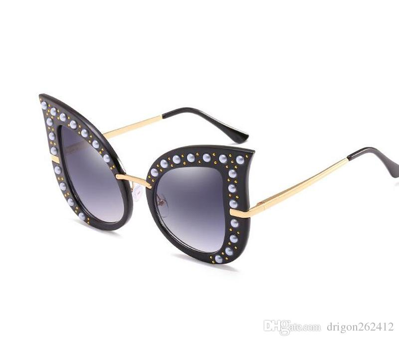 65c695683b1 2018 Cat Eye Style Women Sunglasses Luxury Oversize Sun Glasses Big Frame  Beach Eyewear UV Protection Goggle Black Color John Lennon Sunglasses Wiley  X ...