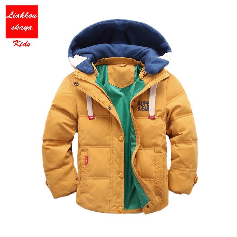 e6fa1674e 2017 Hickened Boys Girls Winter Jackets 3-12 Children Outerwear Winter  Coats Duck Parka Down Coat For Boys Solid Boys Snow Wear