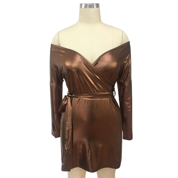 sexy Laser reflective long sleeve open fork party dress women plus size spring autumn oversized bodycon low-cut split prom night club dress